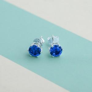 Sapphire Birthstone 2 for September 925 Silver Earrings