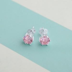 Rose Birthstone 2 for October 925 Silver Earrings