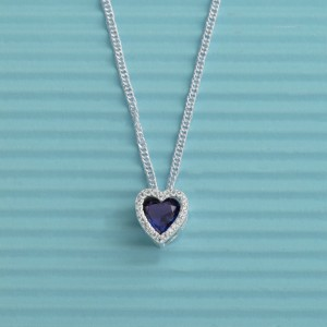 Renia Heart Blue Stoned Necklace by Argento