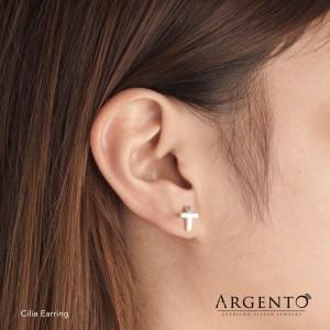 Cilia Cross 925 Silver Earrings by Argento