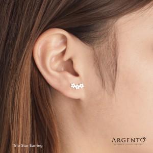 Trio Star 925 Silver Earrings by Argento