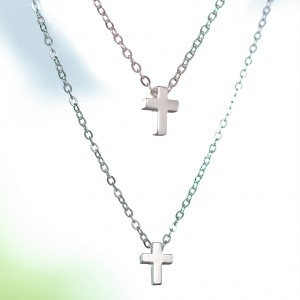 Calixta 925 Silver with 2 Cross Pendants and Chains Necklace by Argento