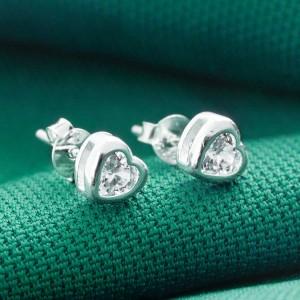 Caroline Heart Stone 925 Silver Earrings 4mm by Argento