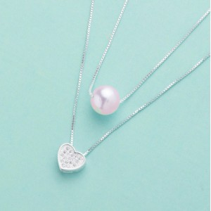 Hestia Pearl Heart Necklace by Argento 925 Silver