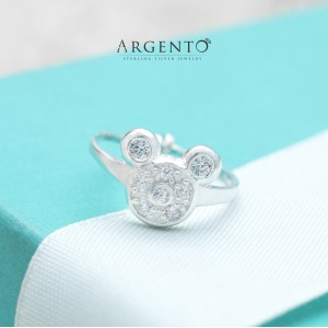 Mickey Mouse Ring for Kids 925 Silver by Argento (Adjustable)