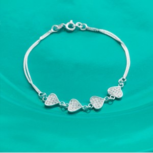 Arjane Stoned Heart 925 Silver Bracelet by Argento