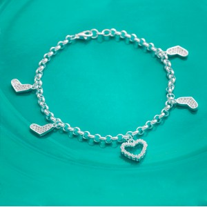 Cheis Stoned Heart Charms 925 Silver Bracelet by Argento