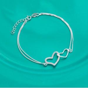 Emma Twin Heart 925 Silver Bracelet by Argento