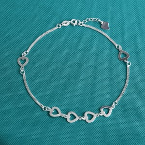 Janet Double Strap 925 Silver Anklet by Argento with Hearts