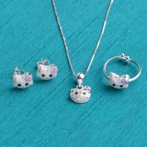 Hello Kitty 4 925 Sterling Silver Set for Kids by Argento