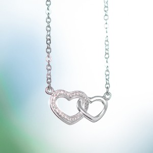 Monalisa Entwined Hearts Necklace 925 Silver by Argento