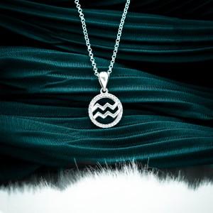 Zodiac Sign Aquarius 925 Silver Necklace 18inches