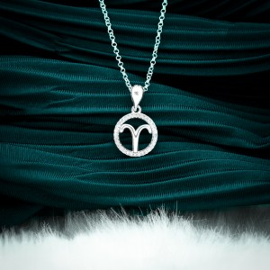Zodiac Sign Aries 925 Silver Necklace 18inches