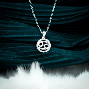 Zodiac Sign Cancer 925 Silver Necklace 18inches