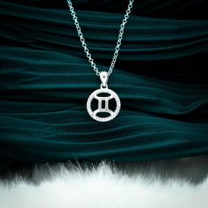 Zodiac Sign Gemini 925 Silver Necklace 18inches