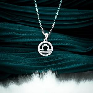 Zodiac Sign Libra 925 Silver Necklace 18inches