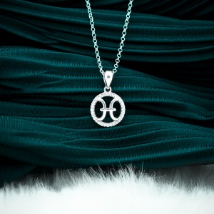 Zodiac Sign Pisces 925 Silver Necklace 18inches