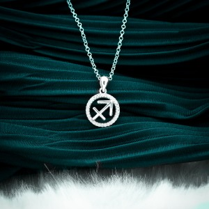 Zodiac Sign Sagittarius 925 Silver Necklace 18inches
