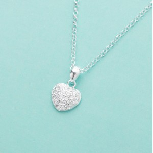 Apple Stoned Studded Heart 925 Sterling Silver Necklace by Argento