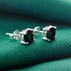 Demi Black Round 925 Silver Stud Earrings