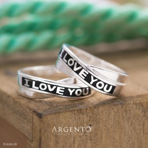 I Love You 925 Silver Couple Rings by Argento
