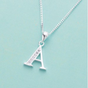 Letter A with Stones 925 Silver Necklace 18 inches