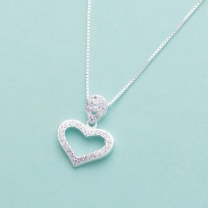 Yvonne Stoned Heart Silver Necklace 4g
