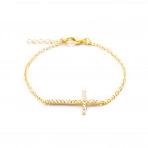 Avah 18K Gold Plated Cross Bracelet