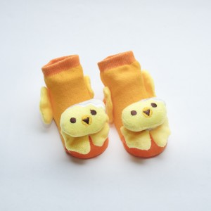 Orange Socks with Yellow Chick head design
