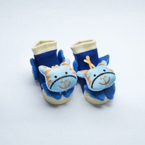 Blue Socks with Orange and Blue Giraffe head design