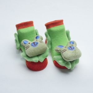 Orange and Green Socks with Green Cat and Blue Ear and Nose head design