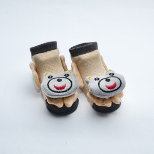 Black and Brown Socks with Grey Happy Dog head design