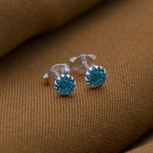 Blue Zircon Birthstone for December 925 Silver Earrings