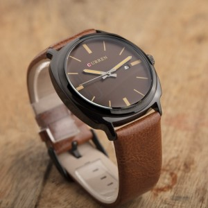 Adonis Leather by Curren Brown Strap and Brown Face