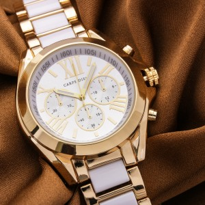 Alessa Dual Tone Watch by Carpe Diem (Gold and White Strap)