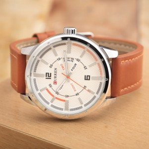 Davis Leather by Curren Brown Strap and White Face