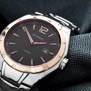 James Stainless Steel Watch with Rose Gold Lining by Curren Black Face