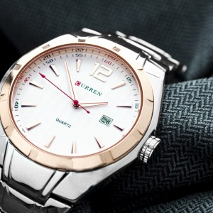 James Stainless Steel Watch with Rose Gold Lining by Curren White Face