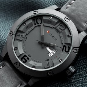 Lebron Leather by Curren Black Strap Black Face with Black Dial