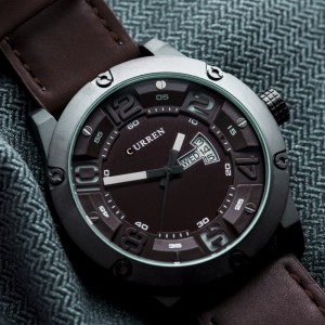 Lebron Leather by Curren Dark Brown Strap Dark Brown Face with White Dial