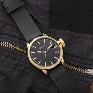 Liam Gold Watch by Curren Black Leather Strap and Black Face