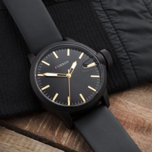 Liam Black Watch by Curren Black Leather Strap and Black Face