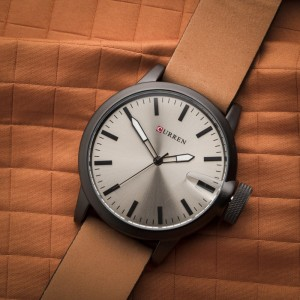 LIAM Black Watch by Curren Brown Leather Strap and Gray Face