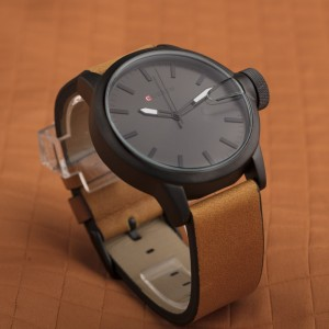 Liam Black Watch by Curren Brown Leather Strap and Black Face
