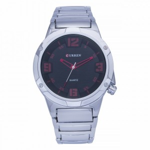 Alden Stainless Steel by Curren  (Black Face with Red Dial)