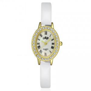 Clarra Watch (Gold Face with White Strap)