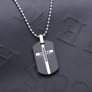 Constantine Black Dogtag 316L S.Steel Men's Necklace