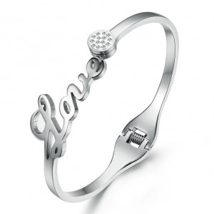 Lovern '316L Stainless Steel Silver Bangle
