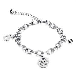 Roselle '316L Stainless Steel Silver Bracelet