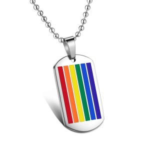 Rainbow Dogtag Necklace